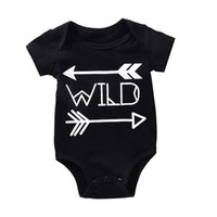 Wholesale High Neck Baby Bodysuit - High Quality Baby Rompers Boy Girl Cotton O-neck Bodysuit Newborn Infant Arrows Black Romper Wild Letter Printed Jumpsuit Gift for 0-18M