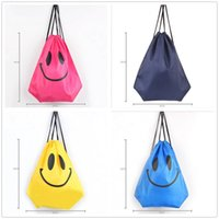 Wholesale Drawstring Bags For Children - fashion Cute Emoji Drawstring Bags for Women Mens Children Cartoon Unisex Emoji Backpacks Fashion Smile Printed Student bags D763
