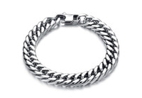 Wholesale Stylish Men Silver Chains - Silver Plated Titanium Stainless Steel Luxury Bracelet Stylish Simple Punk Design Man Link Chain Bracelets 19cm 20cm 21cm 22cm Long Bracelet