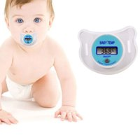 Wholesale Digital Lcd Soft Nipple Thermometer - Portable Digital LCD Pacifier Thermometer Baby Nipple Soft Safe Mouth Nipple Temperature Pacifier Chain Clip Holder