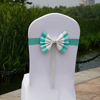 Wholesale Wedding Sashes For Chairs Cheap - Beautiful Colorful Bow Wedding Accessories For Chairs Cheap Wholesale Elegent Beads Textile Chair Cover Sashes Wedding Decorations