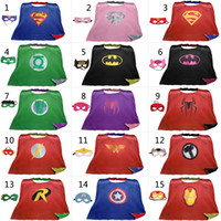 Wholesale Satin Capes Wholesale - L90*70cm Teen & Adult Superhero capes cape+mask Double side Satin fabric Spiderman Ironman capes Halloween Cosplay gifts