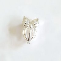 925 Silver Inlay Gemels brilhantes Eyes Owl Locket Cage, pode abrir Pearl Gem Bead Cage Pendant, Sterling Silver Pendant Mounting DIY Jewelry Fitting