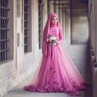 ingrosso abiti tradizionali delle donne-Abito da sposa musulmano Tradizionale turco tradizionale manica lunga 3D floreale perline islamico kaftano Dubai arabo femminile abito da sera