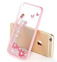 Girl Fashion Hot fantasia 3D Princesa Vestido de Noiva Bling Rhinestone Diamante de plástico transparente PU Voltar Case para Iphone 6 6plus DHL