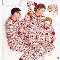 Wholesale Snowflake Clothing Baby - Family Christmas Pajamas Outfits Snowflake Elk Cotton Christmas Pajamas Father Mother Kids Baby Family Look Nightwear Clothing Sets 915