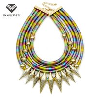 Wholesale Necklace Statement Neon Crystal - Indian Multilayer Bib Collar Vintage Maxi Necklace Women New Statement Jewelry Neon Multicolor Big Choker Accessories CE4047