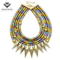 mehrfarbige indische halskette großhandel-Indische Multilayer Bib Kragen Vintage Maxi Halskette Frauen New Statement Schmuck Neon Multicolor Big Choker Zubehör CE4047