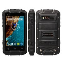 Wholesale touch screen rugged phones - Original DIGOOR DG1 MTK6582 Quad Cores 4Inch Android 4.4 PTT Walkie Talkie Two Way Radio IP68 Rugged Waterproof Shockproof 3G Cell Phone