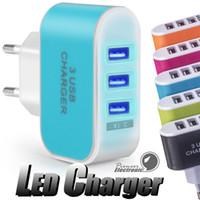 usb 5v toptan satış-ABD AB Tak 3 USB Duvar Şarjları 5 V 3.1A LED adaptör Seyahat Cep Telefonu Için üçlü USB Portu ile Uygun Güç Adaptörü