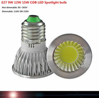 E27 GU10 E14 1pcs LAMP dimmable 9W 12W 15W COB AC110V 220V High Power Led torchis Ampoules blanc chaud / blanc froid LED / blanc