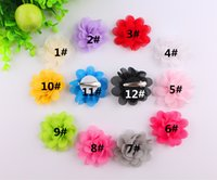 Wholesale Order Flower Brooches - 3.5''common camellia rose flower hair clips Satin silk chiffon flowers hair clip,Brooch Min Order 60 Pieces Free Shipping