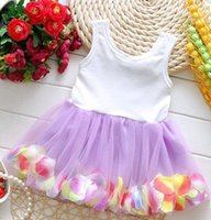 Wholesale Summer Toddler Girls Pettiskirts - 2017 New Girls Princess Bowknot Tutu Dresses Baby Rose Flower with Pearl Tutu Dress Sleeveless Toddler Cotton Petal Pettiskirts Dance Dress
