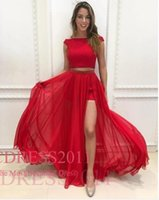 sexy red off schultern prom kleid großhandel-Red Sexy Charming Prom Dresses Eine Linie aus der Schulter Reißverschluss bodenlangen Tüll Pailletten zwei Stücke Kleid Ball Kleider
