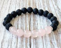 mücevherat için kuvars taşları toptan satış-SN1061 Sıcak Satış Gül Kuvars Lava Yoga Bilezik Şifa Kristaller Bilek Mala Boncuk Çakra Takı Doğal Taş Bayan Yoga Bilezik