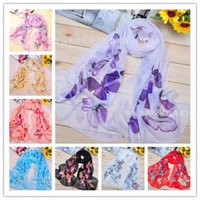 Cheap 10 Styles Scarf Sarongs Brisk Butterfly Pattern Scarves Chiffon Cachecóis impressos Frete grátis DHL 100