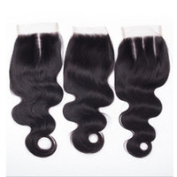 Wholesale Hair Lace Top Closure Sale - Big sale! Brazilian Virgin Body Wave Human Hair Cheap 4x4 Top Lace Closures Pieces With Bleached Knots Free Middle three Part Stock