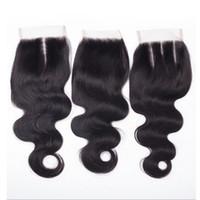 ingrosso texture dei capelli brasiliani-Grande vendita! Brasiliani Virgin Mix Texture capelli umani economici 4x4 Top pizzo chiusure pezzi con nodi candeggiati gratis tre parti di ricambio