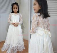 Wholesale line wedding dresses vest sleeves for sale - Group buy 2016 Arabic Scoop Long Sleeves Lace A line Flower Girl Dresses Vintage Child Pageant Dresses Beautiful Flower Girl Wedding Dresses F31