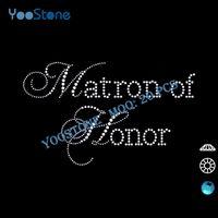 Wholesale Matron Dresses - Lows Cheap! Captial Cursive Matron Of Honor Rhinestone Transfer, Wedding Dress Rhinestone Appliques Free Shipping 20 Pcs Lot