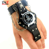 Wholesale Buckle Ring Cheap - Men's Leather Punk Rock Skull Skeleton Ring Chain Gothic Quartz Wrist Watch Gift Pendant D0523 Cheap watch band