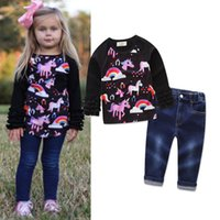Wholesale ruffle sleeves tees - Girls Outfits Spring Unicorn Ruffle long Sleeves Tee shirt Top and Jeans Clothing Sets Girls Boutique Children Clothes