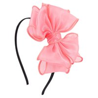Wholesale Organza Flowers For Headband - Solid Baby Organza Fabric Headband With 2 layers Hair Bow For Kid Girl Flower Hair Bow