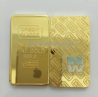 Wholesale Wholesale Gold Bullion Bars - 5pcs lot Free shipping CREDIT SUISSE 1oz 24ct Gold Plated Layered Bullion Bar Ingot Replica coin+Switzerland Fake Gold Bar
