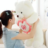 Wholesale White Love Heart Teddy - LOVE YOU size 70 cm high quality heart birthday baby bear WJJA2195 plush stuffed toys girl lovers Children valentine gift