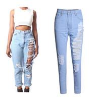 Wholesale Sexy Club Wear Jeans - Plus Size Denim Jeans Womens Sexy Blue Ripped Hole Capris Jeans Loose Casual Denim Pants Hip Hop Girls Street Wear Club Wear BSF0321