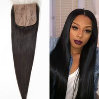 Wholesale Silk Base Closure Bleach Knots - Free Middle 3 Part Peruvian Silk Base Closure Bleached Knots,Peruvian Straight Closure,Virgin Human Hair Closure Tangle Free G-EASY