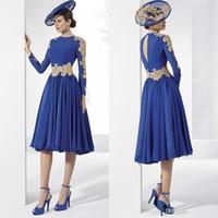 Wholesale Nek Dresses - New Arrival Royal Blue O-Nek Chiffon Mother Of the Bride Dress Gold Appliques Knee Length Long Sleeves Pleats Party Dresses