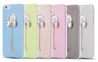 Wholesale Iphone Cases Bows - For IPhone 6S Case Rhinestone iphone Case Diamond Bow Pendant Soft Clear Case Glitter Bling TPU Cover Iphone6s plus 5s Free Shipping