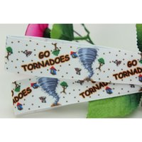 "Wholesale Hair Tornado - 7 8"" 22mm Popular GO TORNADOES Printed Grosgrain Ribbon Bows Crafts Decorations DIY Party Hair Accessories 50 100Y A2-22-616"