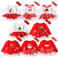 Wholesale Dot Bow Headband - INS Baby girls Christmas Red Romper tutu dress 2pcs sets My 1st Christmas Letters Dots dress With bow headband Infants cute Outfits