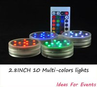 Wholesale Party Supplies Submersible Light Remote - 4pcs lot Wholesale 2.8inch Submersible LED Light,10 Multi-colors LEDs,Remote Controlled,3AAA Batteries operated Floral Light