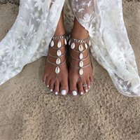 Wholesale Ladies Retro Sandals - Beach Anklet for Women Lady Novelty Retro Shell Barefoot Sandals Fashion Sandy Beach Party Jewelry Anklets Valentine Gift Free Shipping