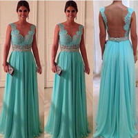 Wholesale Turquoise Dress Pictures - Hot Sale Cheap Turquoise Evening Dresses Sheer Neck Back See Through Turquoise Blue Long Prom Dress In Stock 2016