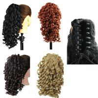 Wholesale claw clip synthetic ponytail - Synthetic Claw hair ponytail Kinky curly wavy clip ponytails 19inch 165G synthetic hair pieces extensions more colors