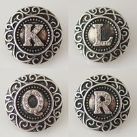 Wholesale Circle R - 20mm English Alphabet Snaps Button Jewelry K to R Fit Ginger Snaps Jewelry From Partnerbeads KB6264-71