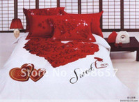 Wholesale Comforter Wedding Twill - Queen cotton wedding bedding sets red rose flower heart-shaped floral pattern Printed 4pcs comforter covers with sheets bedlinen