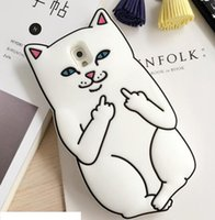 Wholesale S4 Cartoon - 3D Ripndipp Cat Middle Finger Soft Silicone GEL Case For Samsung Galaxy S4 S5 S6 S7 EDGE A5 E5 J1 ACE J2 NOTE5 Pocket Cat Cartoon Skin Cover