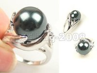 Wholesale 14mm Freshwater Pearls - Wholesale Cheap new 14mm Genuine Freshwater Cultured Black Shell Pearl Ring Size 7# 8# 9#   Free Shipping