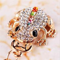 neuheiten münzen großhandel-Netter Schmuckstück-Rhinestone-Goldmünze-Frosch-Schlüsselketten-Auto-Keychain Tierschlüsselanhänger-Taschen-Charme-Mode-Schlüsselring-Neuheit-Andenken Wholeasle