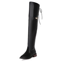 Wholesale Ladies Footwear Boots - SJJH Women Boots Winter Ladies Fashion Flat Knight Boots Shoes Over Knee Long Boots Shoes Women Brand Footwear EDX0064