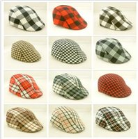 Wholesale Kids Black Beret Hats - 18colors Kids Boys Girl Beret checked plaid Cap Toddler Children's Flat Cabbie Hats Cotton Sun children Caps D778