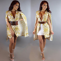 Wholesale workwear long sleeve - Cape Blazer 2016 Autumn Women Floral Printed Blazers and Jacket Fashion Long Sleeve ALL EYES ON ME Gold Cape Blazer Workwear