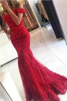 Wholesale Empire Blue Lace Dress - 2017 Prom Dresses Red Off the Shoulder Beaded Mermaid Evening Gowns Sleeveless Backless Covered Button Lace Applique Formal Party Dresses