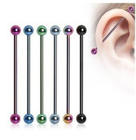 Wholesale Wholesale Industrial Ear Barbell - Anodized Color 50 Piece 2016 Fashion 316L Stainless Steel Long Industrial Tongue Barbell Bar Bijoux Femme Man's Ear Body Piercing Jewelry