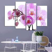Wholesale cheap piece canvas prints landscape online - 4 Piece Cheap abstract Modern Wall Painting purple pink flower Home Decorative Art Picture Paint on Canvas No Frame